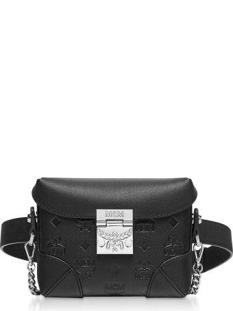 MCM Black Monogram Leather Soft Berlin Belt Bag