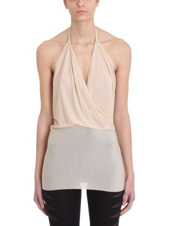 Rick Owens Lilies Wrap Draped Nude Viscose Top