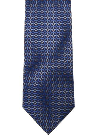 Salvatore Ferragamo Marine Silk Gancini Printed Tie