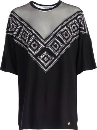 Versace Collection T-shirt S/s Over V Neck W/tulle