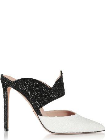 Oscar Tiye Brianne Black & White High Heel Mules