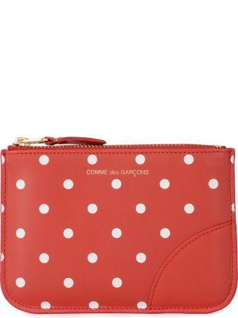 Comme des Garçons Wallet Polka Dot Red Leather Purse