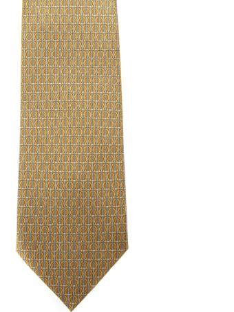 Salvatore Ferragamo Yellow Silk Gancini Printed Tie