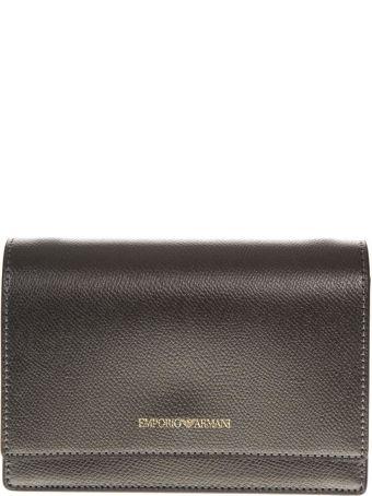 Emporio Armani Steel Color Faux Leather Mini Bag