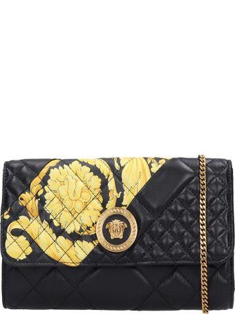 Versace Evening Shoulder Bag In Black Leather