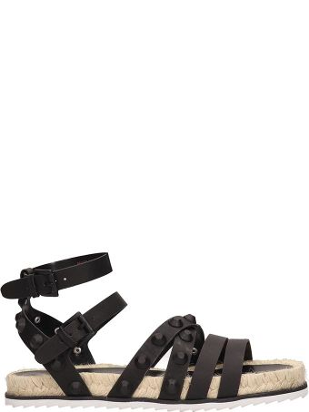 Kendall + Kylie Black Leather Flat Sandals
