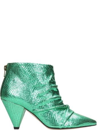 Marc Ellis Green Leather Ankle Boots