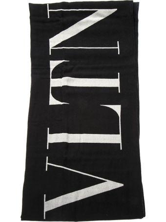 Valentino Black Virgin Wool Scarf With Vltn Logo