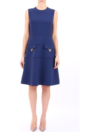"Valentino Blue Dress ""v"" Pockets"