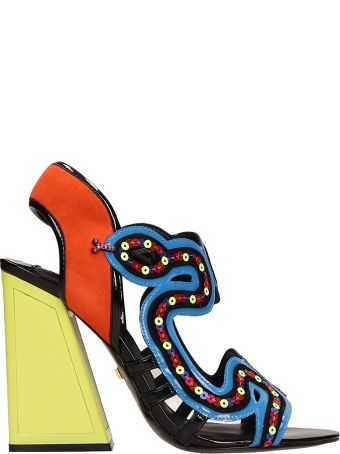 Kat Maconie Multicolor Leather Medusa Sandals