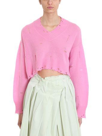 Maison Flaneur V Neck Pink Cashmere Sweater