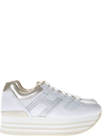 Hogan White And Gold Maxi Sneakers H222 In Leather