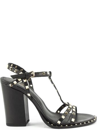 Ash Lips Low Sandal In Black Leather