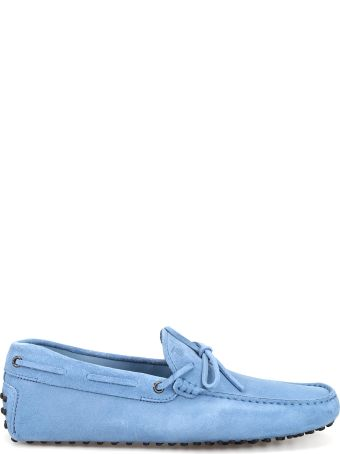 Tod's Sky Blue Suede Loafers With Laces Xxm0gw05470re0u009