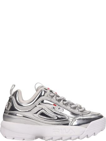Fila Silver Laminated Leather Distruptor Low Sneakers