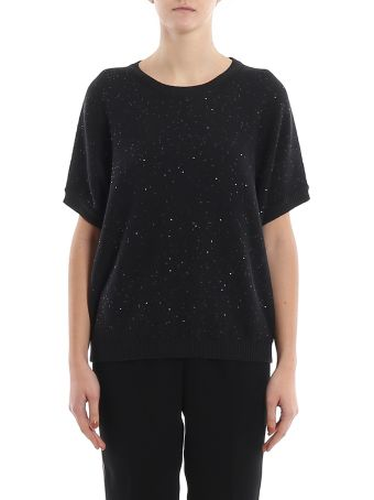 Peserico Sequined Detail Black Boxy Sweater