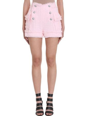 Balmain Pink Boucl?-tweed Shorts