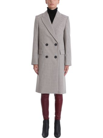 Theory Genesis Light Grey Wool And Cotton Blend Coat