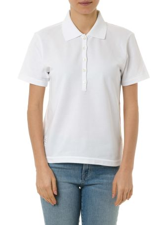 Thom Browne White Cotton Polo Shirt With Iconic Ribbon