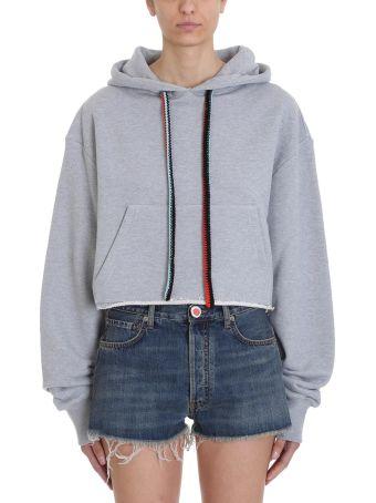 Alanui Hawaiian Grey Cotton Cropped Hoodie Sweatshirt