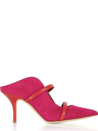 Malone Souliers Maureen Red Suede And Cherry Nappa High Heel Mules