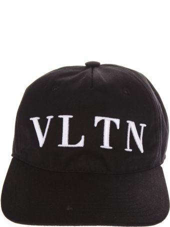 Valentino Garavani Vltn Black Cotton Baseball Hat
