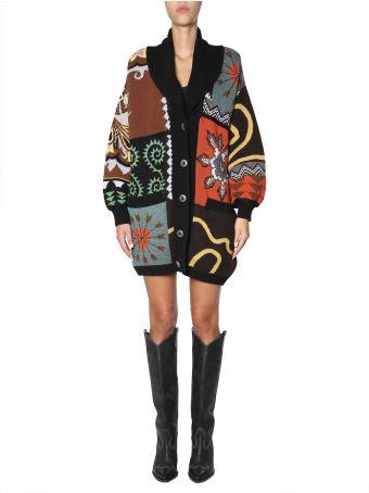 Etro Wool Knitted Jacquard Coat