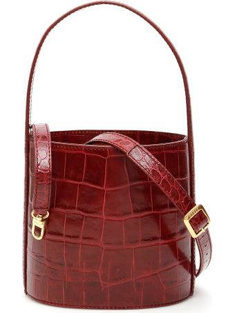 STAUD Croc-print Bisset Bucket Bag