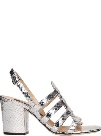 Sergio Rossi Silver Crepe Leather Sandals