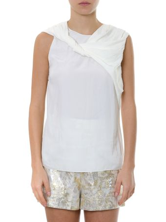 Lanvin Ivory Blouse With Bow Collar In Satin