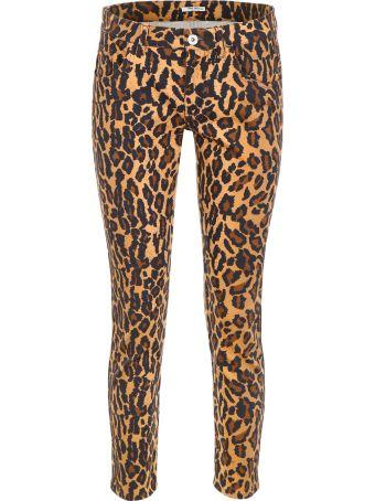 Miu Miu Leopard-printed Jeans With Patch