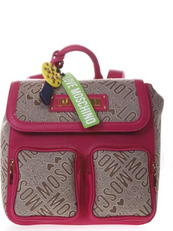 Love Moschino Backpack In Natural And Fuchsia Logoed Jacquard Fabric