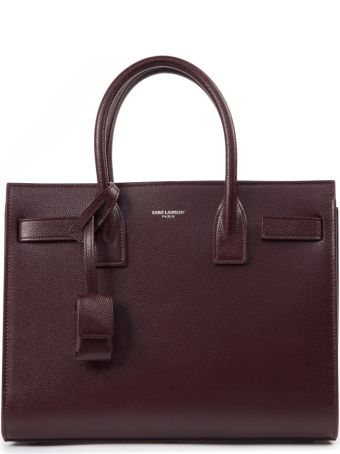 Saint Laurent Burgundy Sac De Jour Leather Bag