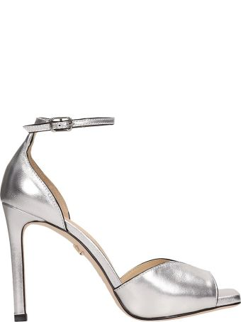 Lola Cruz Silver Calf Leather Sandals
