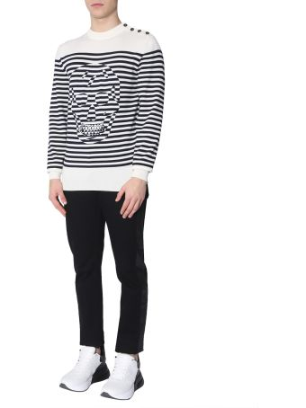 Alexander McQueen Striped Sweater With Skull Print