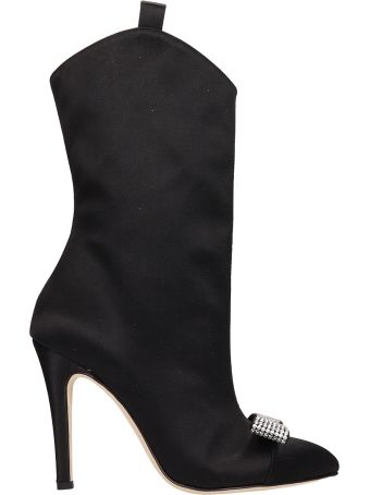 Alessandra Rich Black Satin Ankle Boot