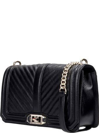 Rebecca Minkoff Chevron Qulted  Shoulder Bag In Black Leather