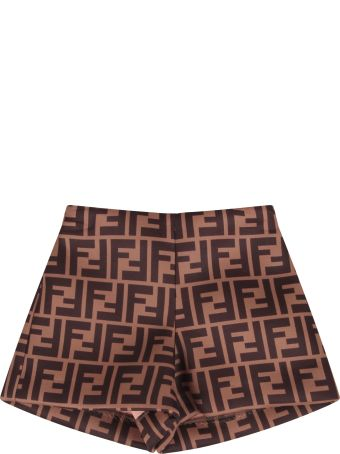 Fendi Brown Short With Double Ff For Baby Boy