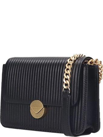 Visone Lizzy Shoulder Bag In Black Leather