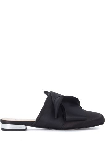 Tipe e Tacchi Black Satin Mules With Bow