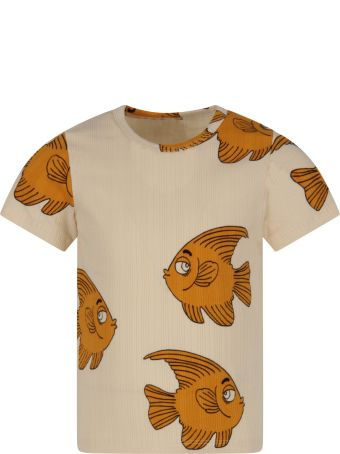 Mini Rodini Ivory T-shirt For Boy With Fishes