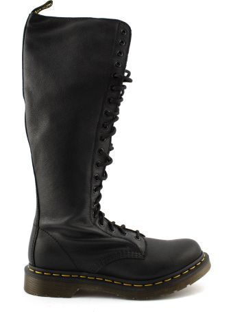 Dr. Martens Black Leather Lace Up Knee Length Boot.
