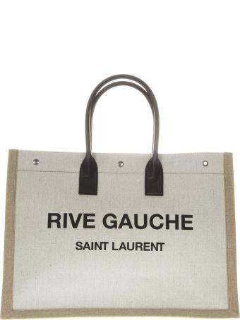 Saint Laurent Rive Gauche White Linen Tote Bag