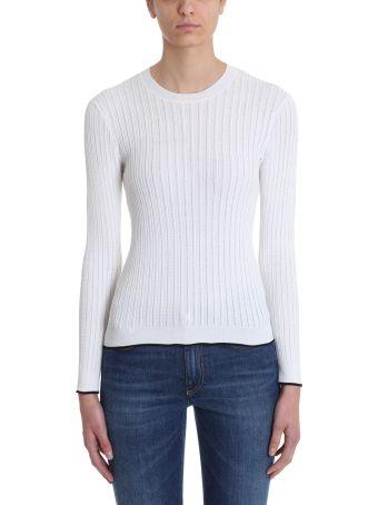 Sonia Rykiel Ribbed White Cotton Sweater
