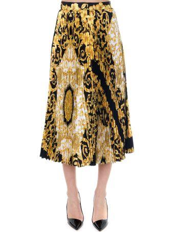Versace Gold Hibiscus Print Pleated Midi Skirt Black/gold