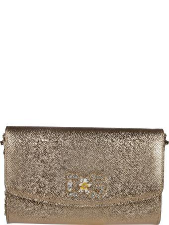 Dolce & Gabbana Embellished Dg Logo Metallic Clutch