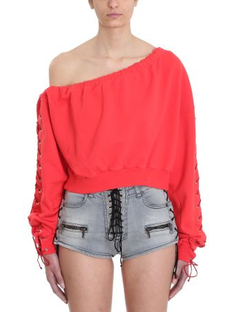 Ben Taverniti Unravel Project Terry Asymmetric Lace Up Sweater