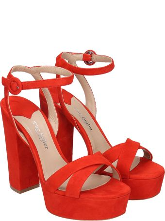 The Seller Sandals In Red Suede