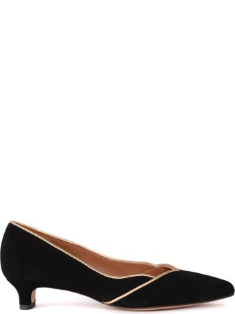 Chie Mihara Sunni Black And Gold Suede Flat Shoe