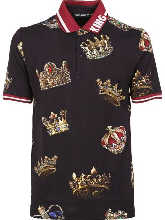 Dolce & Gabbana Crown Print Polo Shirt
